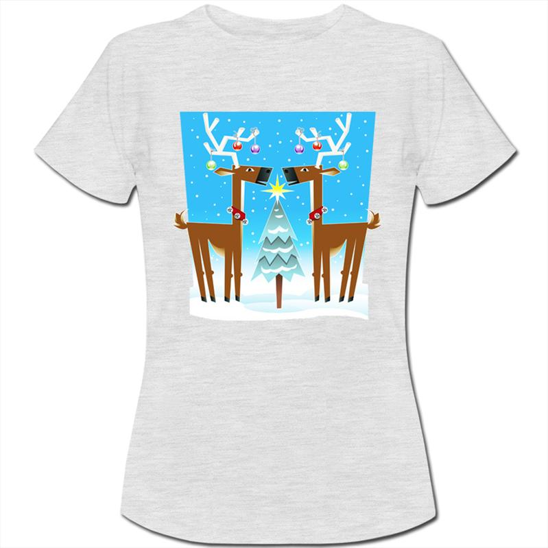 Reindeers-With-Christmas-Trees-Decorations-Womens-Ladies-T-Shirt