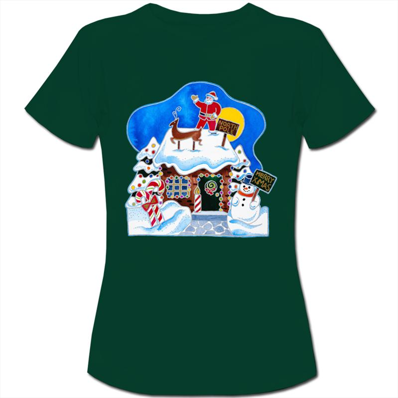 Christmas-Decorations-on-Gingerbread-House-Womens-Ladies-T-Shirt